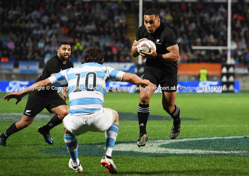 Ngani Laumape.<br /> Rugby Championship test match rugby union. New Zealand All Blacks v Argentina Los Pumas, Yarrow Stadium, New Plymouth. New Zealand. Saturday 9 September 2017. &copy; Copyright photo: Andrew Cornaga / www.Photosport.nz