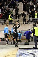 17.10.2010, Stadion, Lahti..Veikkausliiga 2010, FC Lahti - IFK Mariehamn..Jari Litmanen (FC Lahti) j?tt?? kent?n..©Juha Tamminen.