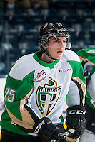 KELOWNA, CANADA - DECEMBER 6: Sean Montgomery #25 of Prince Albert Raiders skates during warm up against the Kelowna Rockets on December 6, 2014 at Prospera Place in Kelowna, British Columbia, Canada.  (Photo by Marissa Baecker/Shoot the Breeze)  *** Local Caption *** Sean Montgomery;