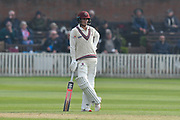 Tom Abell of Somerset during the Specsavers County Champ Div 1 match between Somerset County Cricket Club and Kent County Cricket Club at the Cooper Associates County Ground, Taunton, United Kingdom on 7 April 2019.