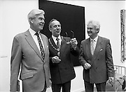 10/09/1988<br /> 09/10/1988<br /> 10 September 1988<br /> ROSC 1988 Exhibition at the Guinness Hop Store. <br /> Sir Norman Mcfarlane visits ROSC '88. Mr pat Murphy, (third from left) Chairman of ROSC with Alderman Ben Briscoe, T.D. (centre) Lord Mayor of Dublin and Sir Norman Macfarlane, Chairman of Guinness plc during their visit to ROSC '88.