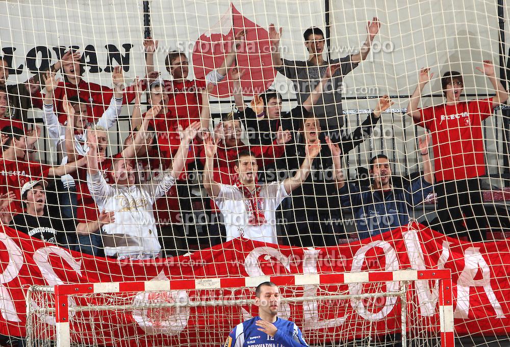 Red Tigers, Fans of Slovan at 15th round of Slovenian Handball MIK 1st league match between RD Slovan and RK Celje Pivovarna Lasko, on February 6, 2009, in Kodeljevo, Ljubljana, Slovenia. Win of RK Slovan 18:17. (Photo by Vid Ponikvar / Sportida)