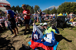 Supporters of Slovenia  during the Men's Elite Road Race a 258.5km race from Kufstein to Innsbruck 582m at the 91st UCI Road World Championships 2018 / RR / RWC / on September 30, 2018 in Innsbruck, Austria. Photo by Vid Ponikvar / Sportida