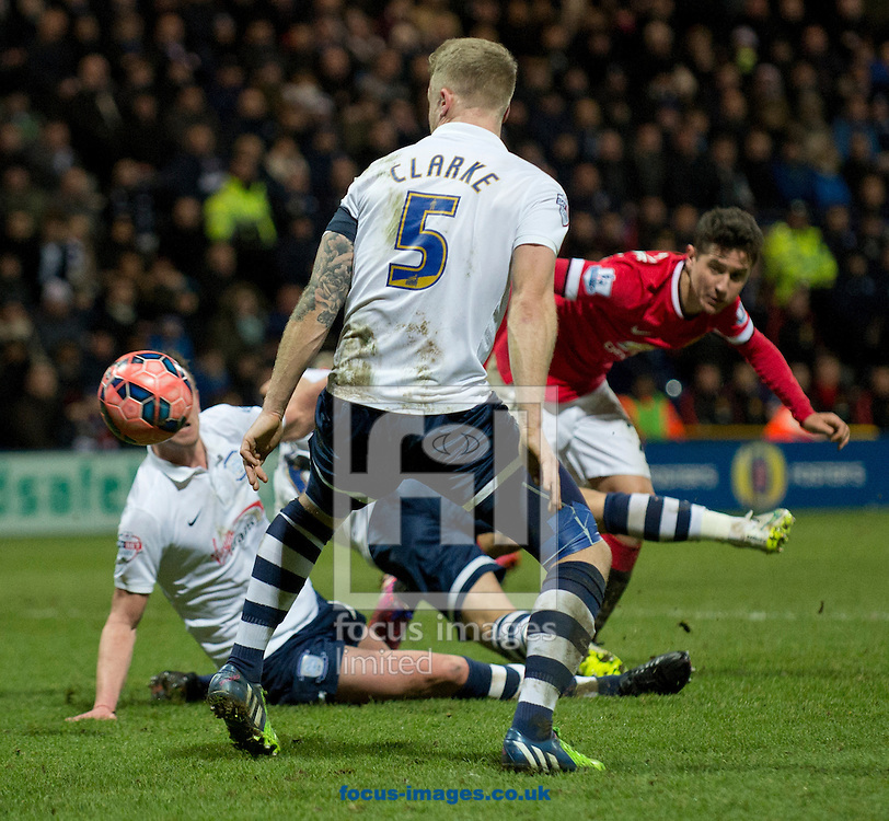 Ander Herrera of Manchester United scores his team&rsquo;s equalising goal to make it 1-1 during the FA Cup match at Deepdale, Preston<br /> Picture by Russell Hart/Focus Images Ltd 07791 688 420<br /> 16/02/2015