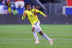 October 16, 2018 - Harrison, NJ, U.S. - HARRISON, NJ - OCTOBER 16:  Colombia forward Juan Cuadrado (11) during the  second half of the International Friendly Soccer Game between Colombia and Costa Rica on October 16, 2018 at Red Bull Arena in Harrison, NJ.  (Photo by Rich Graessle/Icon Sportswire) (Credit Image: © Rich Graessle/Icon SMI via ZUMA Press)