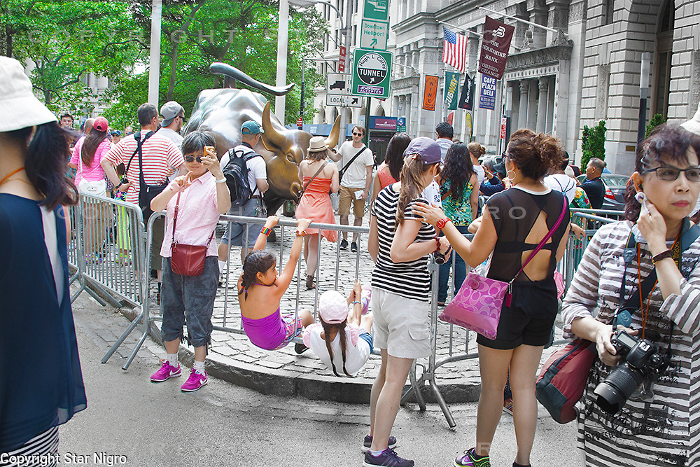 Life around the bull on Wall St. NYC,NY  by Star Nigro<br />