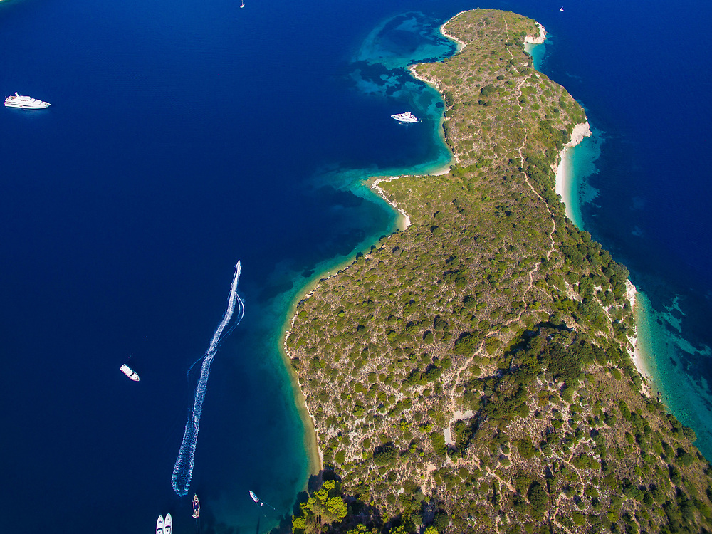 Aerial images of Gidaki beach in Ithaca island, Greece