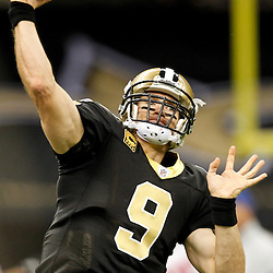 November 28, 2011; New Orleans, LA, USA; New Orleans Saints quarterback Drew Brees (9) warms up prior to kickoff of a game against the New York Giants at the Mercedes-Benz Superdome. Mandatory Credit: Derick E. Hingle-US PRESSWIRE