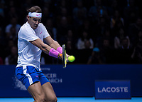 Tennis - 2019 Nitto ATP Finals at The O2 - Day Two<br /> <br /> Singles Group Andre Agassi: Rafael Nadal (Spain) Vs. Alexander Zverev (Germany)<br /> <br /> Rafael Nadal (Spain) with a backhand return of serve <br /> <br /> COLORSPORT/DANIEL BEARHAM<br /> <br /> COLORSPORT/DANIEL BEARHAM