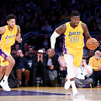 05 December 2016: Los Angeles Lakers forward Julius Randle (30) brings the ball up court next to Los Angeles Lakers forward Brandon Ingram (14) during the Utah Jazz 107-101 victory over the Los Angeles Lakers, at the Staples Center, Los Angeles, California, USA.