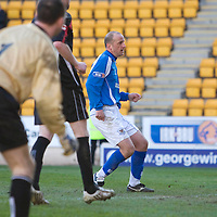St Johnstone v Airdrie Utd.....21.03.09<br /> Paul Sheerin slides the ball home to make it 3-0<br /> Picture by Graeme Hart.<br /> Copyright Perthshire Picture Agency<br /> Tel: 01738 623350  Mobile: 07990 594431