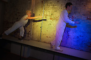 Dress rehearsal of Mining the Mine of the Mind for Minderals (MMMM) by Megan Mazarick and Mason Rosenthal at the 2012 Philadelphia Fringe Festival<br /> <br /> Image &copy; Jacques-Jean Tiziou / www.jjtiziou.net<br /> <br /> For more info:<br /> www.livearts-fringe.org