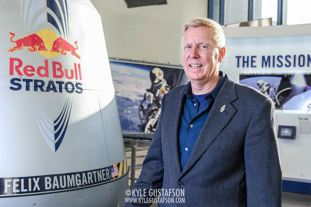 Jonathan Clark, M.D., Medical Director on the Red Bull Stratos project, poses for a portrait at The Smithsonian National Air and Space Museum in Washington, D.C., USA on 1 April, 2014.