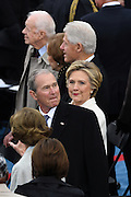 Former President George W. Bush sitting with former Secretary of State Hillary Clinton, former President Bill Clinton and former President Jimmy Carter before the start of the President Inaugural Ceremony on Capitol Hill January 20, 2017 in Washington, DC. Donald Trump became the 45th President of the United States in the ceremony.
