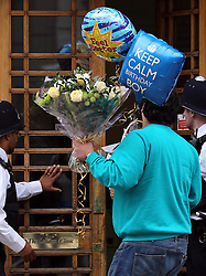 Flowers and balloons arriving at The London Clinic as the the Duke of Edinburgh spends his 92nd birthday in hospital in London, Monday, 10th June 2013<br /> Picture by Stephen Lock / i-Images