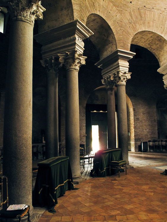 Sta Costanza interior, ambulatory colonnade of the circular structure showing re-used ancient columns and Byzantine arrangement.