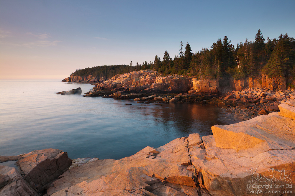 Sunrise turns golden the rugged coastline of the Otter Cliffs and Monument Cove in Acadia National Park, Maine.