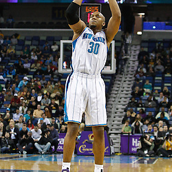 February 7, 2011; New Orleans, LA, USA; New Orleans Hornets power forward David West (30) against the Minnesota Timberwolves during the first quarter at the New Orleans Arena.   Mandatory Credit: Derick E. Hingle