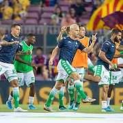 BARCELONA, SPAIN - August 25:  Real Betis players warming up before the Barcelona V  Real Betis, La Liga regular season match at  Estadio Camp Nou on August 25th 2019 in Barcelona, Spain. (Photo by Tim Clayton/Corbis via Getty Images)