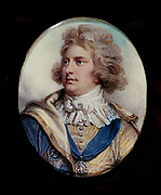 George IV (1672-1830) King of Great Britain from 1820 on the death of his father, George III.  He had served as Prince Regent since 1811 during his father's illness. George in 1792 when Prince of Wales. Portrait by Richard Cosway.
