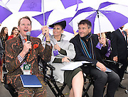 Celebrity stylist Carson Kressley, left, Kym Johnson, center, of Dancing with the Stars, and Robert Herjavec, of Shark Tank, judge the Longines Prize of Elegance contest at the 2015 Breeders' Cup at Keeneland Racecourse on Saturday, Oct. 31, 2015 in Lexington, KY.  Longines, the Swiss watch manufacturer known for its elegant timepieces, is the Official Watch and Timekeeper of the Breeders' Cup World Championships and the Triple Crown. (Photo by Diane Bondareff/Invsion for Longines/AP Images)