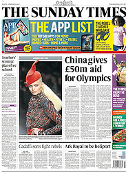 Front page of Sunday Times. Feb 2011. Photo by: Stephen Lock/i-Images
