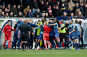 Tensions run high on the bench involving Wycombe Wanderers Nathan Tyson(23) (centre) and Sunderland midfielder George Honeyman (10) who were sent off*** during the EFL Sky Bet League 1 match between Wycombe Wanderers and Sunderland at Adams Park, High Wycombe, England on 9 March 2019.