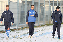 01.02.2012, Trainingsgelaende Wildparkstadion, Karlsruhe, GER, 2.FBL, Karlsruher SC, Training, im Bild Nach dem Laufen: v.l.n.r.: Dennis KEMPE (Karlsruher SC), Clemens VOGT (Karlsruher SC) und Klemen LAVRIC (Karlsruher SC). EXPA Pictures © 2012, PhotoCredit: EXPA/ Eibner/ Güngoer ATTENTION - OUT OF GER *****