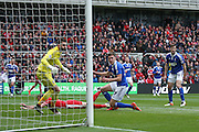 Ipswich Town midfielder, on loan from Barnsley, Paul Digby (37)  watches as Middlesbrough forward Jordan Rhodes (9)  misses the cross during the Sky Bet Championship match between Middlesbrough and Ipswich Town at the Riverside Stadium, Middlesbrough, England on 23 April 2016. Photo by Simon Davies.