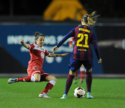 Bristol Academy Womens' Laura Del Rio Garcia challenges FC Barcelona's Virginia Torrecilla - Photo mandatory by-line: Dougie Allward/JMP - Mobile: 07966 386802 - 13/11/2014 - SPORT - Football - Bristol - Ashton Gate - Bristol Academy Womens FC v FC Barcelona - Women's Champions League