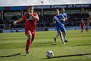 Reece Thompson of York City FC (22) in action during  the Sky Bet League 2 match between Hartlepool United and York City at Victoria Park, Hartlepool, England on 16 April 2016. Photo by George Ledger.