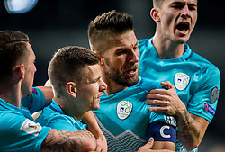 Rajko Rotman of Slovenia, Roman Bezjak of Slovenia, Bostjan Cesar of Slovenia and Benjamin Verbic of Slovenia celebrate after Roman Bezjak of Slovenia scored first goal for Slovenia during football match between National Teams of Slovenia and Scotland of Fifa 2018 World Cup European qualifiers, on October 8, 2017 in SRC Stozice, Ljubljana, Slovenia. Photo by Vid Ponikvar / Sportida