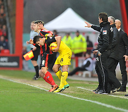 Watford's Marco Davide Faraoni pushes Bournemouth's Harry Arter in the face. - Photo mandatory by-line: Alex James/JMP - Tel: Mobile: 07966 386802 18/01/2014 - SPORT - FOOTBALL - Goldsands Stadium - Bournemouth - Bournemouth v Watford - Sky Bet Championship