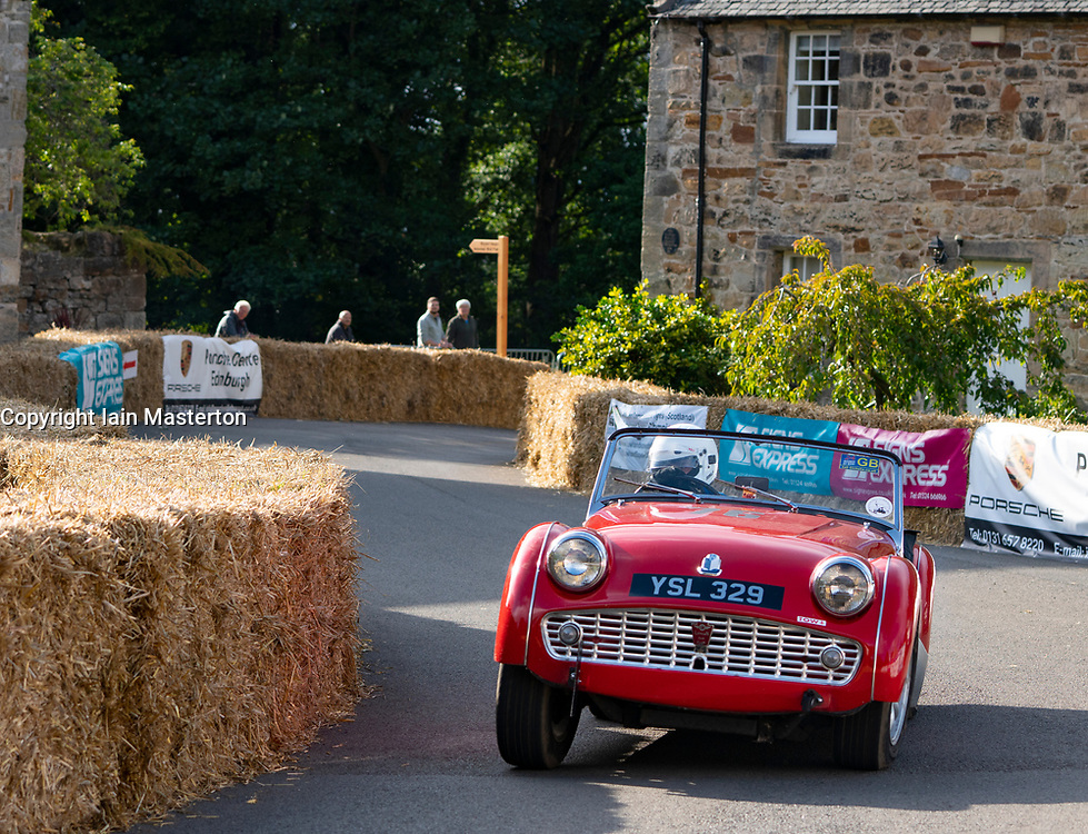 Boness Revival hillclimb motorsport event in Boness, Scotland, UK. The 2019 Bo'ness Revival Classic and Hillclimb, Scotland's first purpose-built motorsport venue, it marked 60 years since double Formula 1 World Champion Jim Clark competed here.  It took place Saturday 31 August and Sunday 1 September 2019. 76. James Coltart. Triumph Tr3A