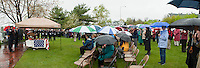 """Family, service members and friends gather to honor their former Chief  Charles """"Chuck"""" Palm at Hesky Park for a """"Celebration of Life"""" memorial service Sunday afternoon.   (Karen Bobotas/for the Laconia Daily Sun)"""