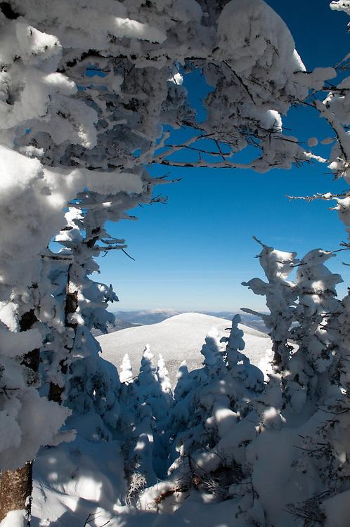 Winter view of Pico Mountain from Killington, Vermont.