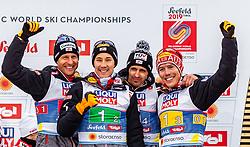 02.03.2019, Seefeld, AUT, FIS Weltmeisterschaften Ski Nordisch, Seefeld 2019, Nordische Kombination, Teambewerb, Flower Zeremonie, im Bild Bronze Medaille für Bernhard Gruber (AUT), Mario Seidl (AUT), Lukas Klapfer (AUT), Franz-Josef Rehrl (AUT) // Bernhard Gruber of Austria Mario Seidl of Austria Lukas Klapfer of Austria Franz-Josef Rehrl of Austria during the flowers ceremony for the team competition for Nordic Combined of FIS Nordic Ski World Championships 2019. Seefeld, Austria on 2019/03/02. EXPA Pictures © 2019, PhotoCredit: EXPA/ Stefanie Oberhauser