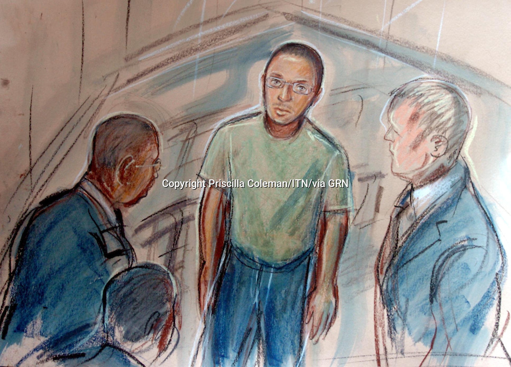 © PRISCILLA COLEMAN .SUPPLIED BY PHOTONEWS SERVICE LTD 07.01.05.DRAWING SHOWS THE DEFENDENTS IN THE MURDER CASE OF DAMILOLA TAYLOR AT CAMBERWELL MAGISTRATES COURT. THE DEFENDENT  IS HASSAN JIHAD 19 THE OTHER TWO ARE UNIDENTIFIABLE DUE TO THEIR AGE..SEE STORY.