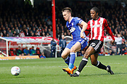 Brentford Midfielder Romaine Sawyers (19) has a shot on goal during the EFL Sky Bet Championship match between Brentford and Ipswich Town at Griffin Park, London, England on 7 April 2018. Picture by Andy Walter.