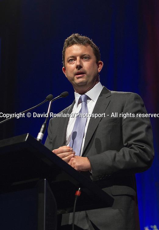 Skycity's CFO James Burrell speaks at the Skycity Breakers Awards, 2013-14, Skycity Convention Centre, Auckland, New Zealand, Friday, March 28, 2014. Photo: David Rowland/Photosport