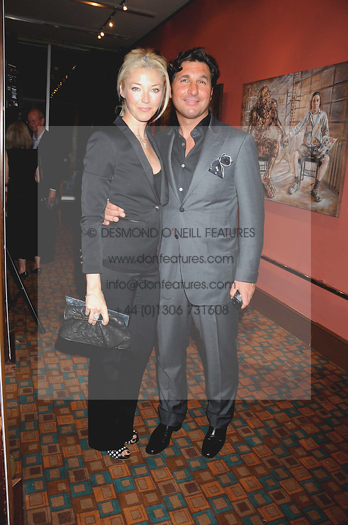 TAMARA BECKWITH and her husband GEORGE VERONI  at a private view of work by Sacha Newley entitled 'Blessed Curse' in association with the Catto Gallery held at the Arts Club, Dover Street, London W1 on 2nd July 2008.<br /><br />NON EXCLUSIVE - WORLD RIGHTS