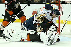 May 20, 2017 - Anaheim, California, U.S. - Nashville Predators center COLTON SISSONS takes out Anaheim Ducks goalie JONATHAN BERNIER in the second period, but no penalty was called, during the Stanley Cup Western Conference Finals, Round 3, Game 5, at the Honda Center. (Credit Image: © Peter Joneleit/CSM via ZUMA Wire)