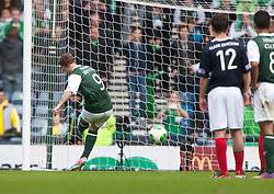 Hibernian's Leigh Griffiths misses a penalty..Hibernian 4 v 3 Falkirk, William Hill Scottish Cup Semi Final, Hampden Park..©Michael Schofield..