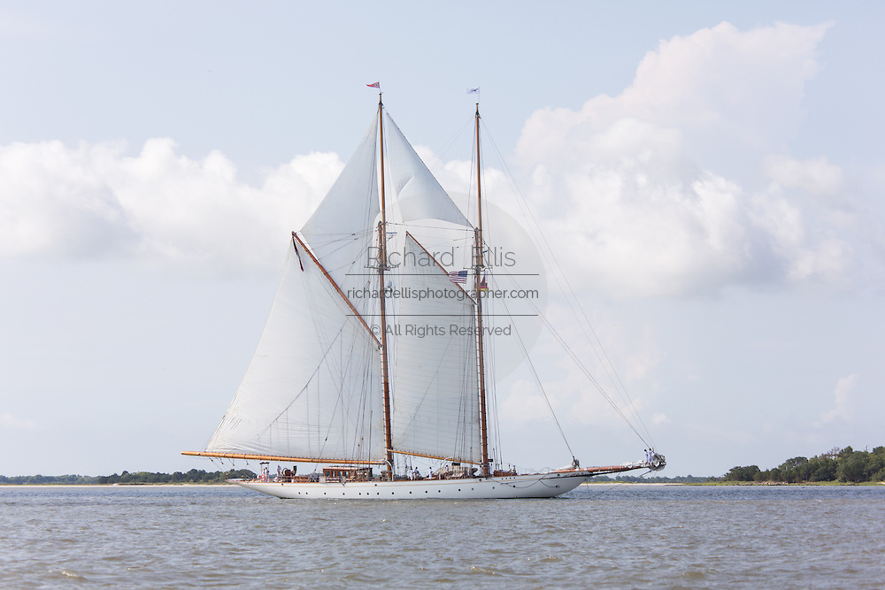 The 196-foot sailing yacht Germania Nova sails Charleston Harbor June 26, 2013 in Charleston, South Carolina.