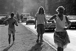 Fans walking to the Venue before the Concert. The Grateful Dead at Pine Knob Music Theatre, Clarkston, MI on 19 June 1991