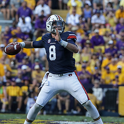 Oct 14, 2017; Baton Rouge, LA, USA; Auburn Tigers quarterback Jarrett Stidham (8) throws against the LSU Tigers during the first half of a game at Tiger Stadium. Mandatory Credit: Derick E. Hingle-USA TODAY Sports