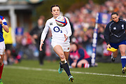 English player Kelly Smith runs onto a long kick to score a try in the first half during the Women's 6 Nations match between England Women and France Women at the Keepmoat Stadium, Doncaster, England on 10 February 2019.