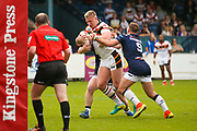 Bradford Bulls replacement Mikolaj Oledzki (31) powers through and scores a try to make the score  10-14 during the Kingstone Press Championship match between Swinton Lions and Bradford Bulls at the Willows, Salford, United Kingdom on 20 August 2017. Photo by Simon Davies.