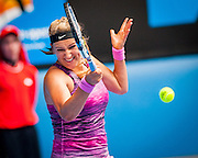 Billed as a deciding match of the fourth round, Victoria Azarenka (RUS) easily cruised past S. Stephens (USA) 6-3 6-2 at Rod Laver Arena on Monday.<br /> <br /> With top seeds falling , Azarenka - the defending champion - was in no mood to exit the tournament early herself, wrapping up a comfortable win in 91 minutes.