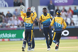 July 1, 2019 - Chester Le Street, County Durham, United Kingdom - Isuru Udana of Sri Lanka celebrates after running out Fabian Allen during the ICC Cricket World Cup 2019 match between Sri Lanka and West Indies at Emirates Riverside, Chester le Street on Monday 1st July 2019. (Credit Image: © Mi News/NurPhoto via ZUMA Press)